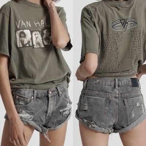 One x One Teaspoon Bandits Gray Denim Shorts